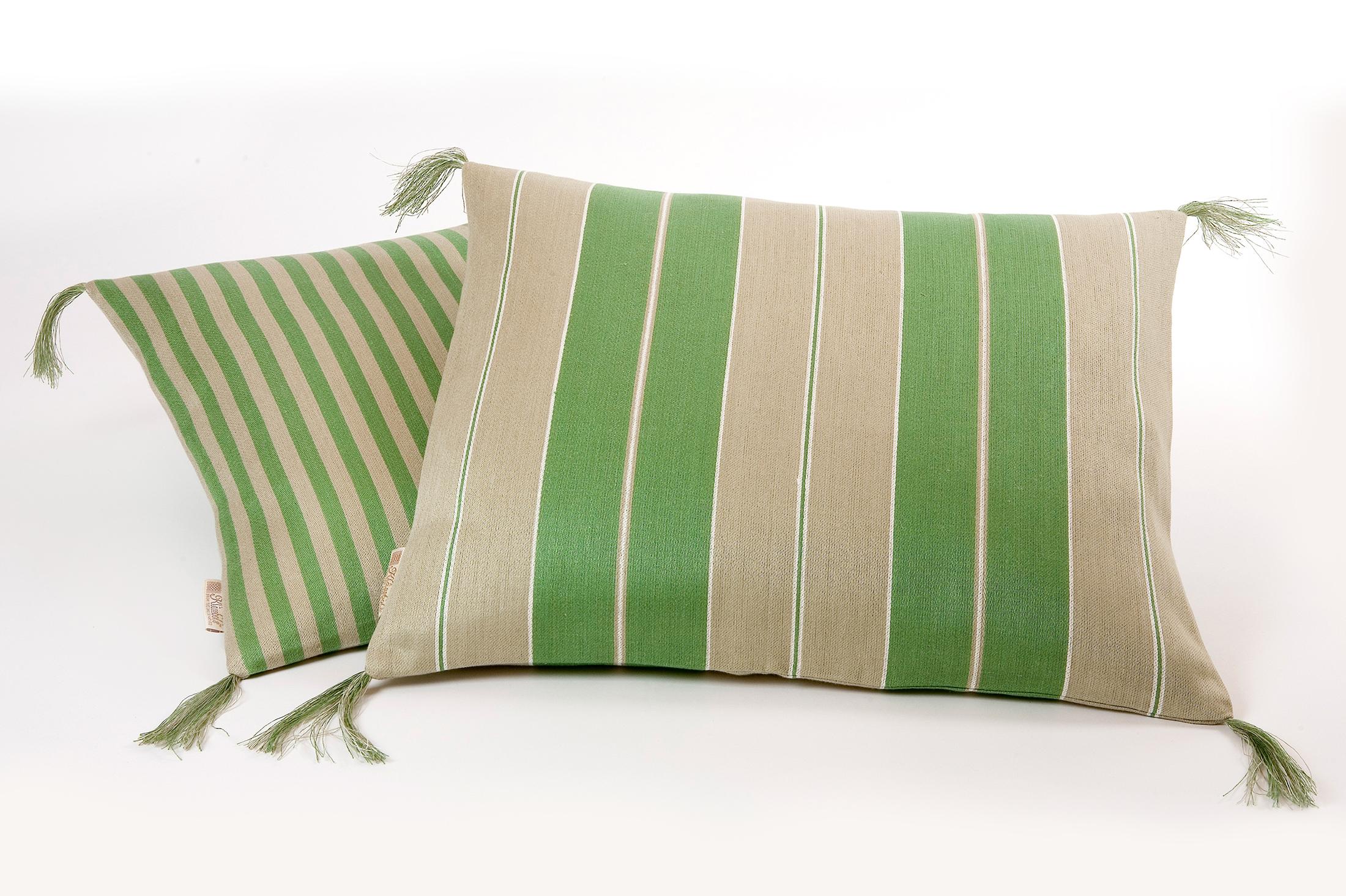 Bolster linnekuddar grönt Klässbols Linneväveri design Lena Rahoult samlingsbild