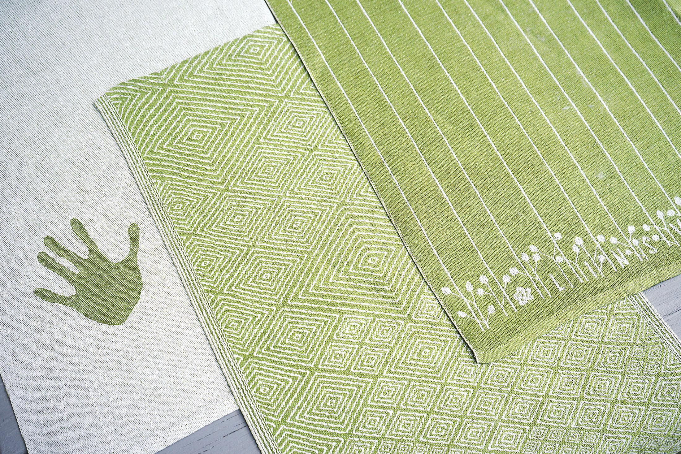 Handdukarna Handduken, Gåsöga och Linfrö i linblomsgrönt Klässbols