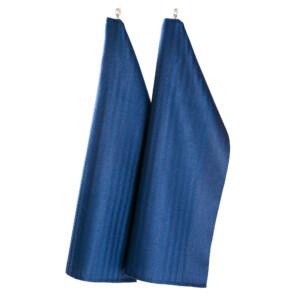 Blå handduk linne Klässbols Linneväveri, design HanneVedel