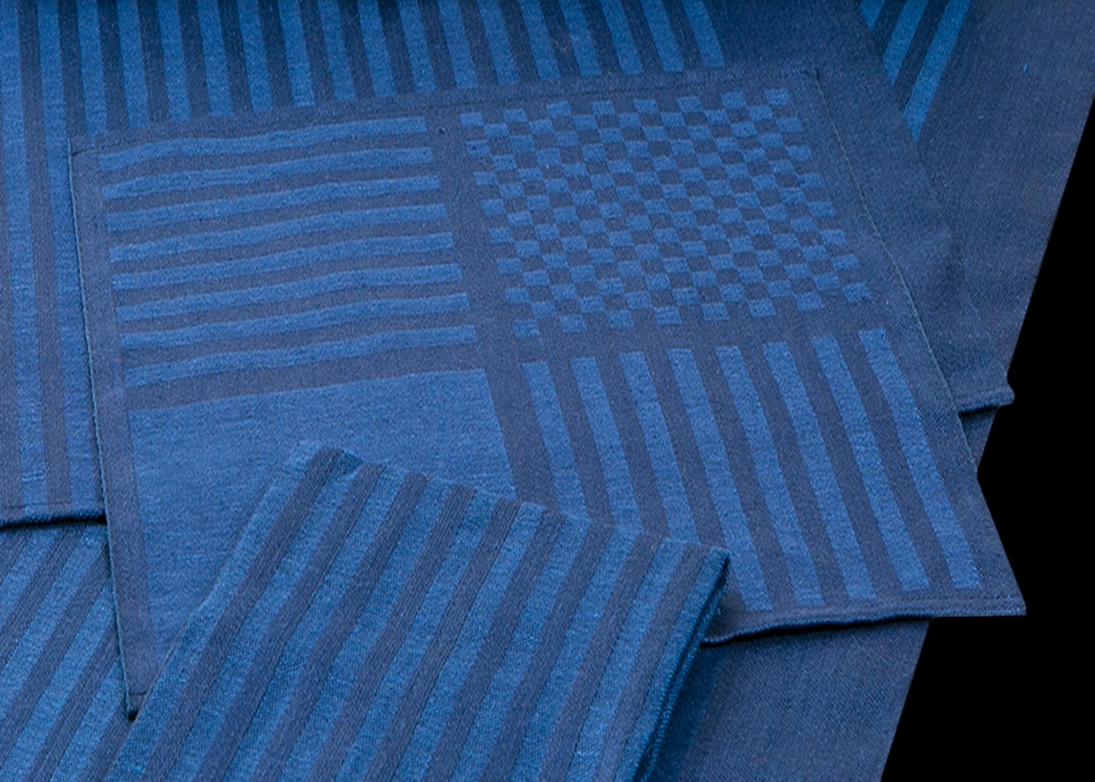Blå servett Klässbols linneväveri Hanne Vedel design