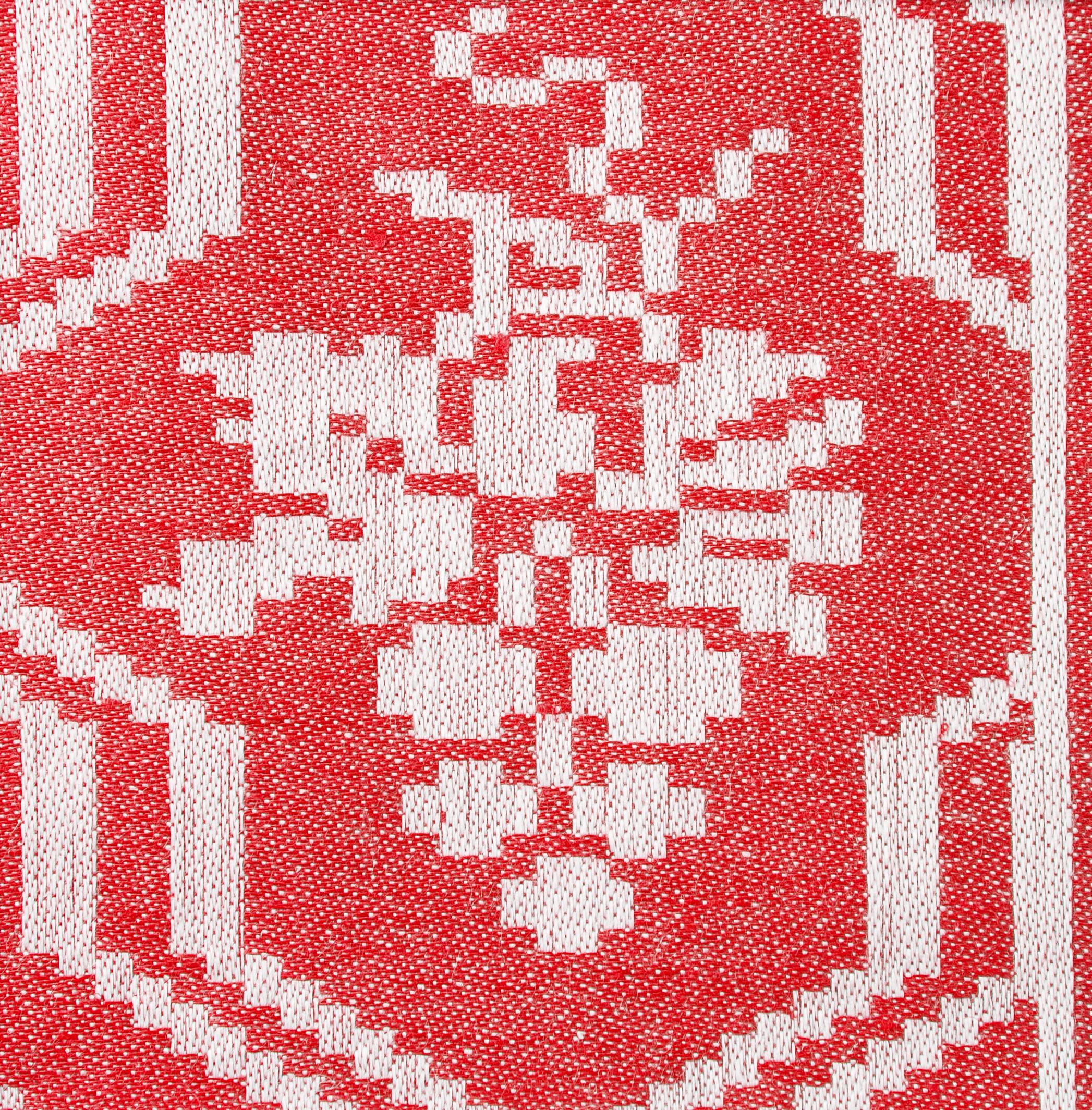 Druvklasen linne duk och servettmöster Klässbols Linneväveri formgiven av Hjalmar Johansson röd