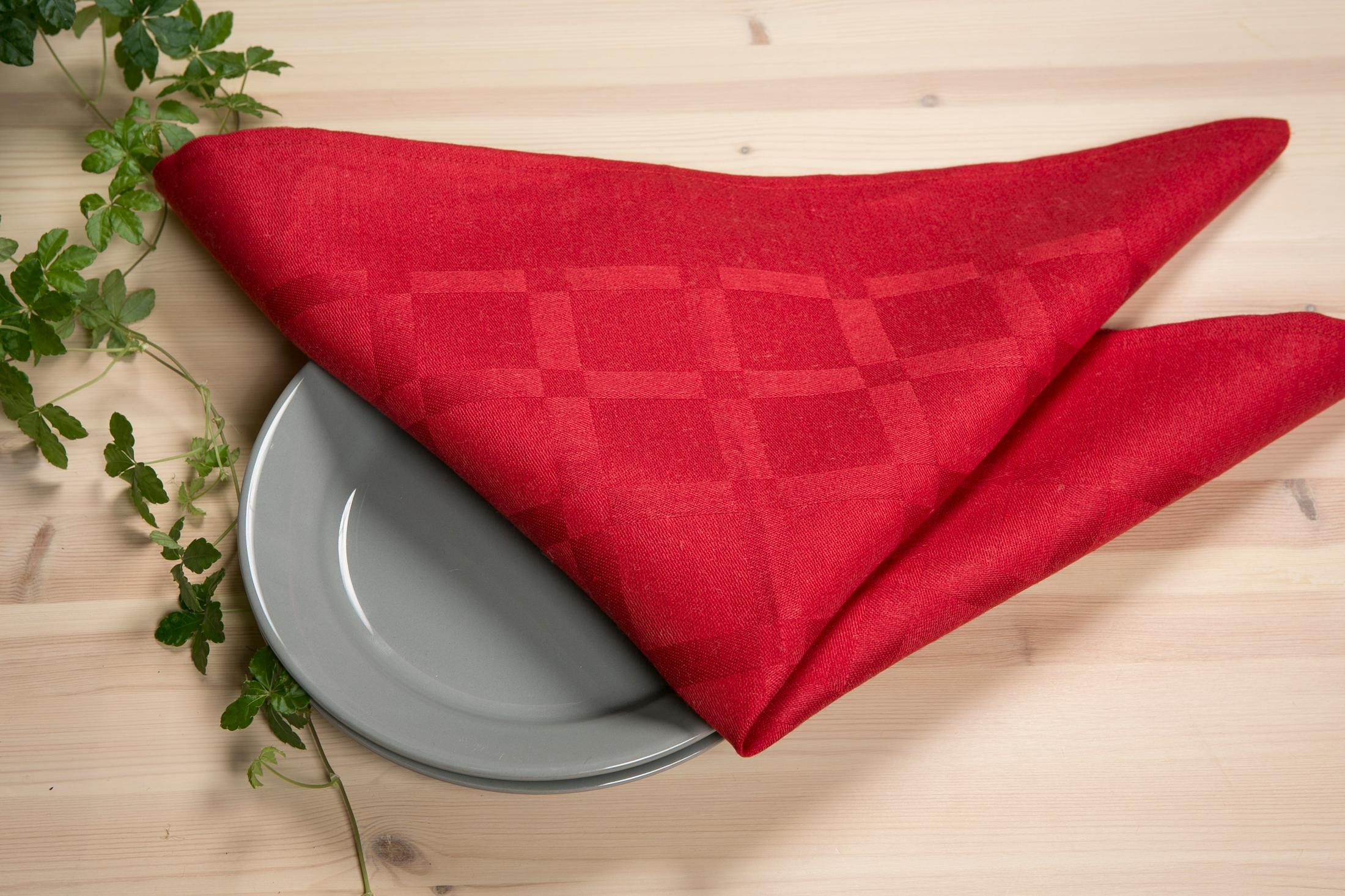 Dylta linneservett servett tablett Klässbols Linneväveri röd