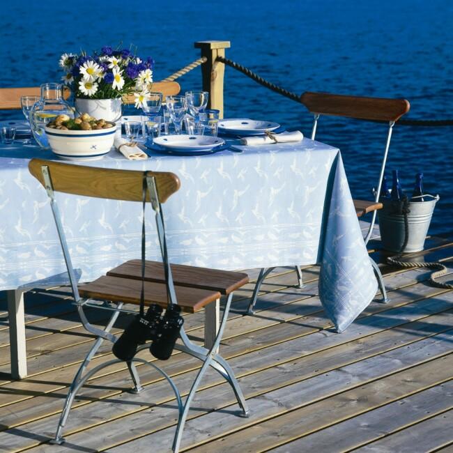 Fiskmåsen duk hellinne Klässbols linneväveri studio Hjalmar Johansson