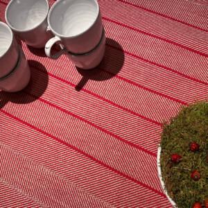 Gärdet linneduk röd med satin servetter och vaser