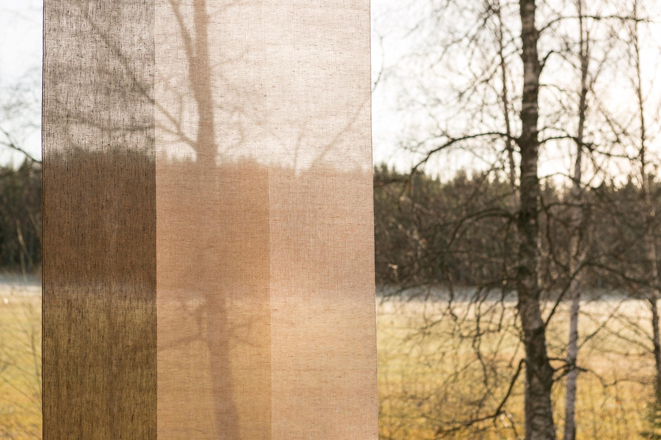 Gardin Trecolore hellinne Klässbols linneväveri Lena Bergström brons