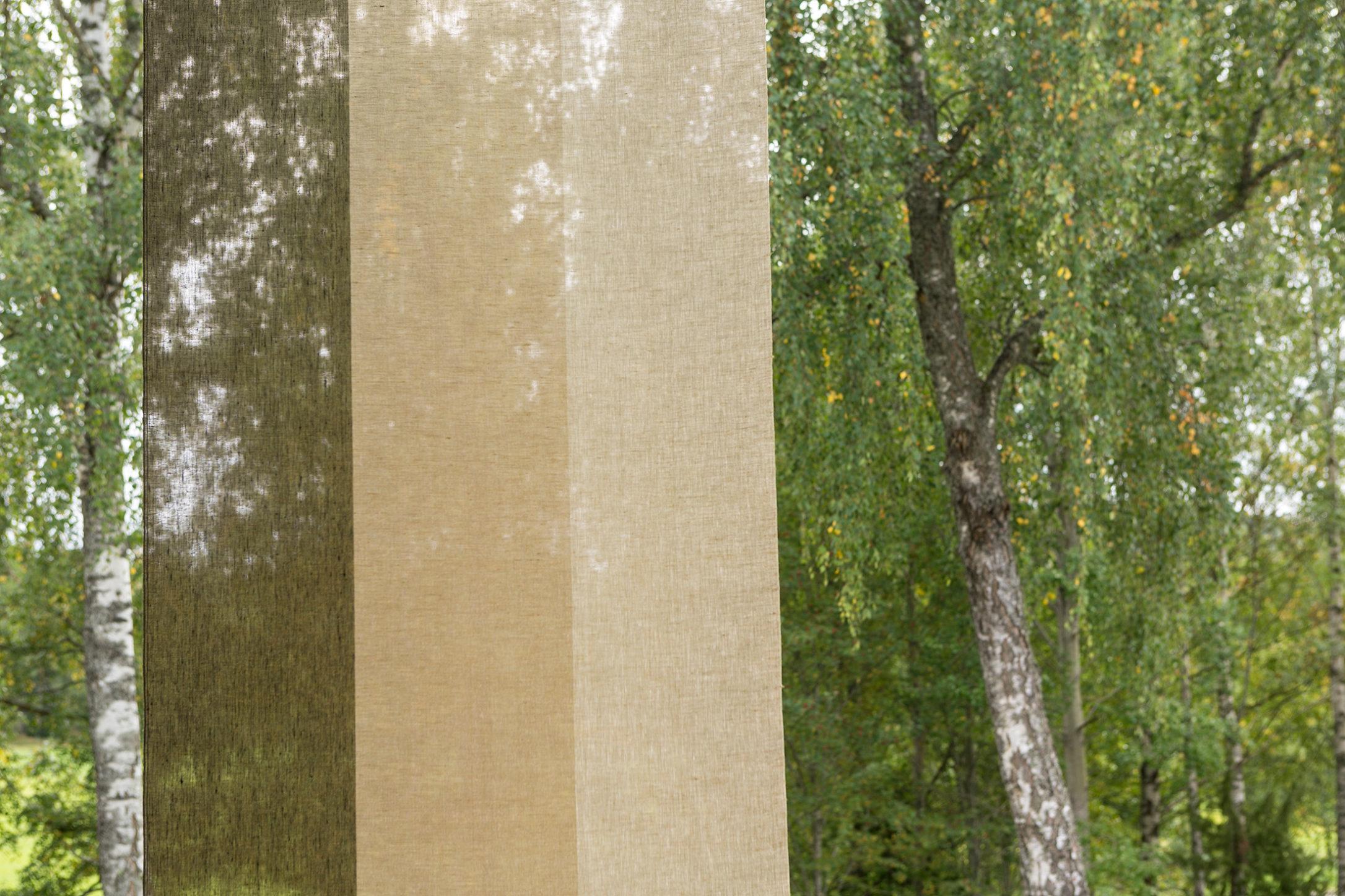 Gardin Trecolore hellinne Klässbols linneväveri Lena Bergström olivgrön