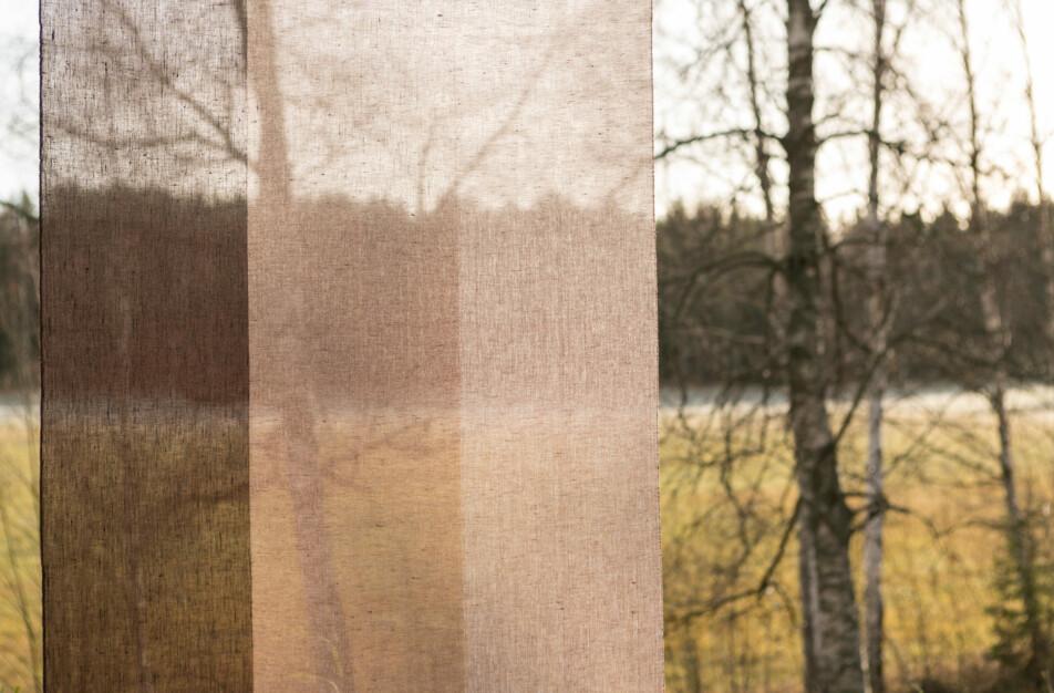 Gardin Trecolore hellinne Klässbols linneväveri Lena Bergström rostbrun|Color:rostbrun