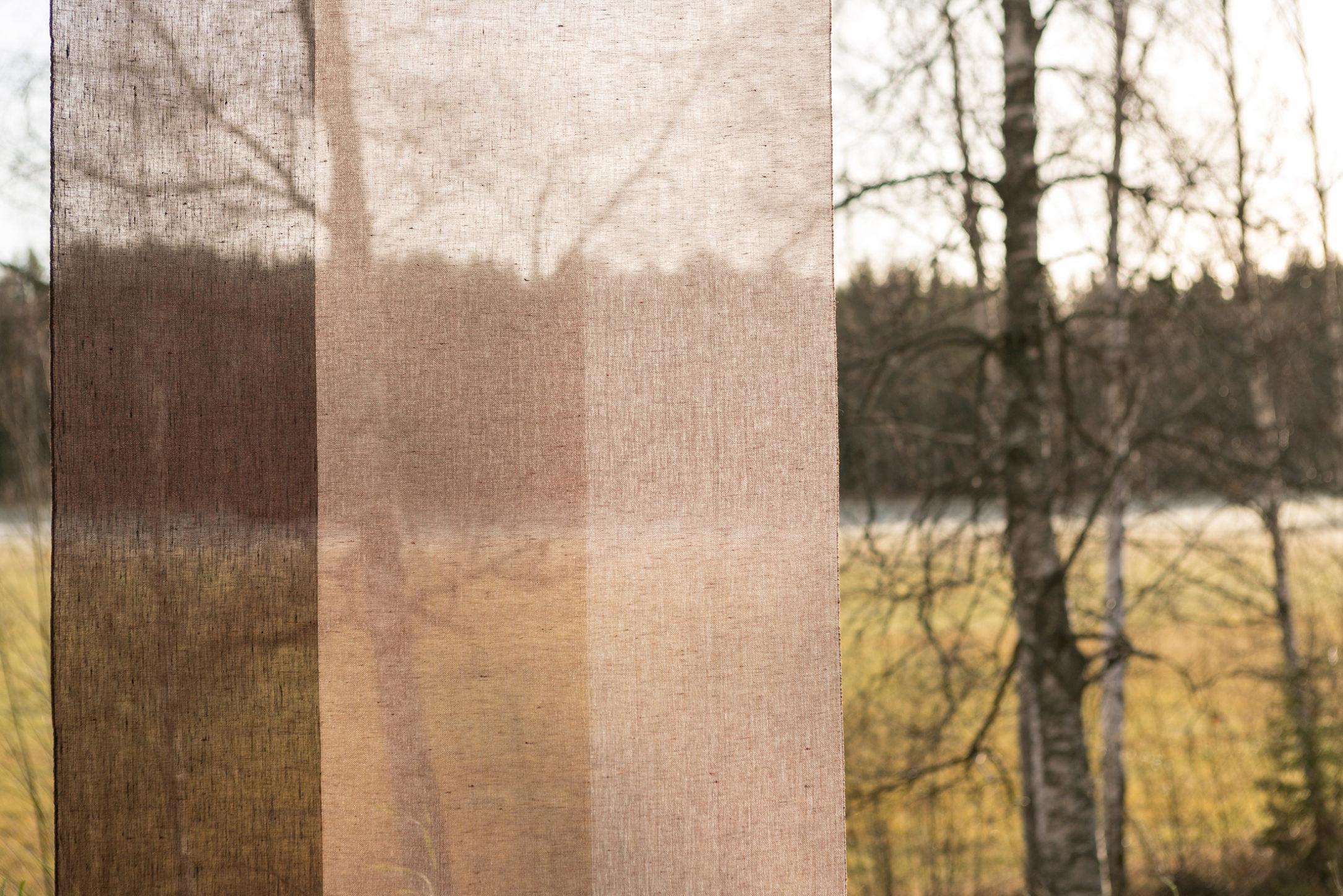 Gardin Trecolore hellinne Klässbols linneväveri Lena Bergström rostbrun