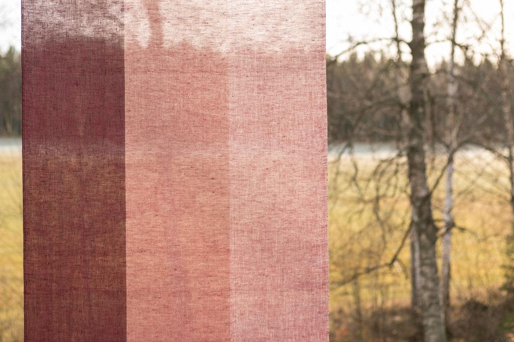 Gardin Trecolore hellinne Klässbols linneväveri Lena Bergström vinröd|Color:vinrod