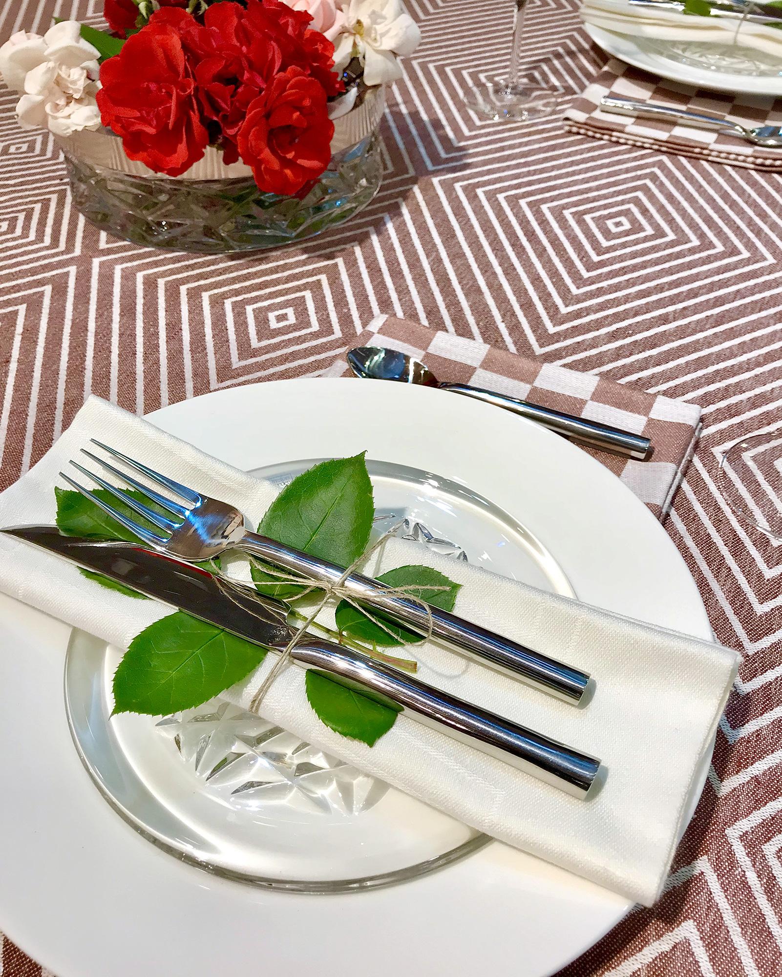 Gåsöga rostbrun duk Shackrutan rostbrun servett och robust vit servett