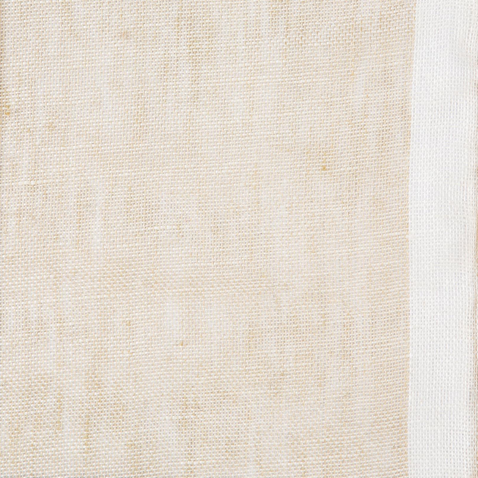 Gryning (skimmer) linnegardin av Eva Jemt Klässbols Linneväveri. Beige med vit kant