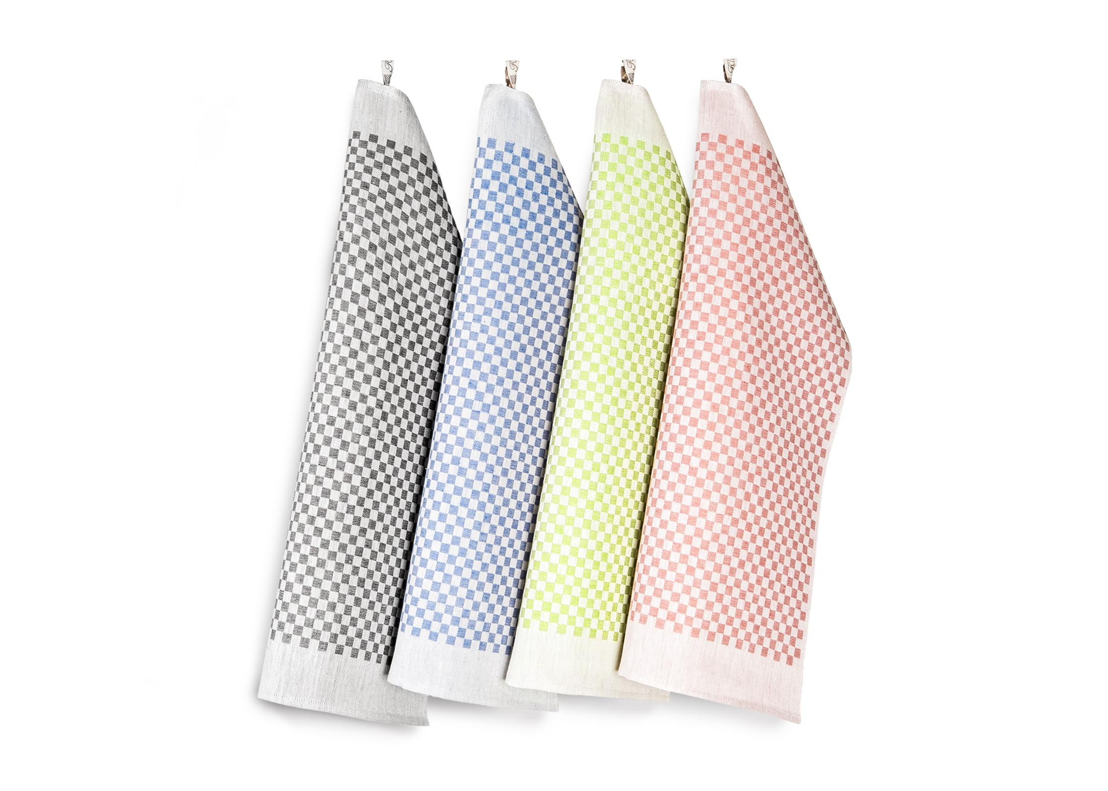 Line handukar här i fem olika färger. Design av Hanne Vedel