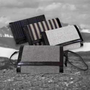 Norrland handväskor 100% lin läder Klässbols Linneväveri Lena Bergström sten spår twist fjäll