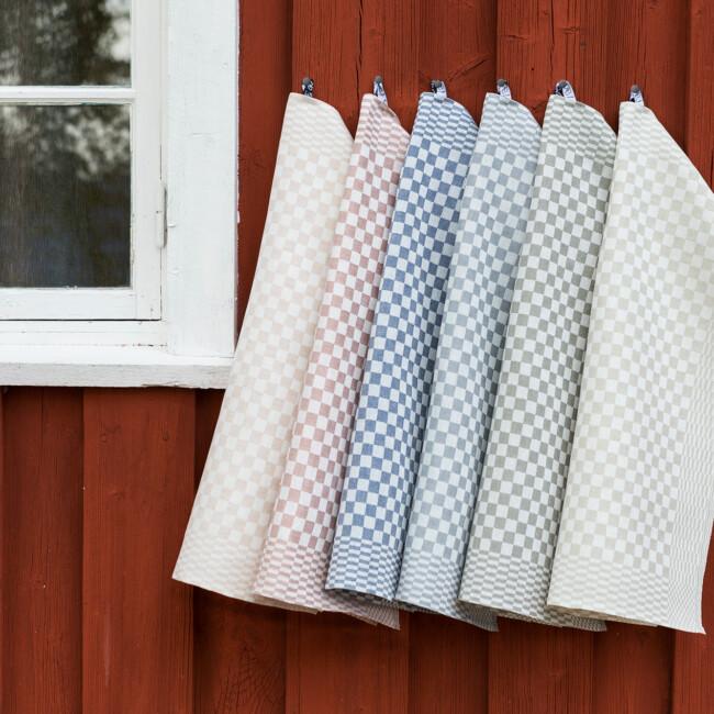 Shackrutan linnehandduk Klässbols Linneväveri studio nya färger