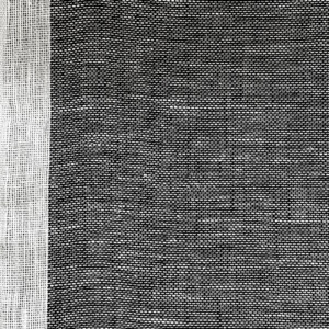 Skymning (skimmer) linnegardin av Eva Jemt Klässbols Linneväveri. Vit kant med svart botten